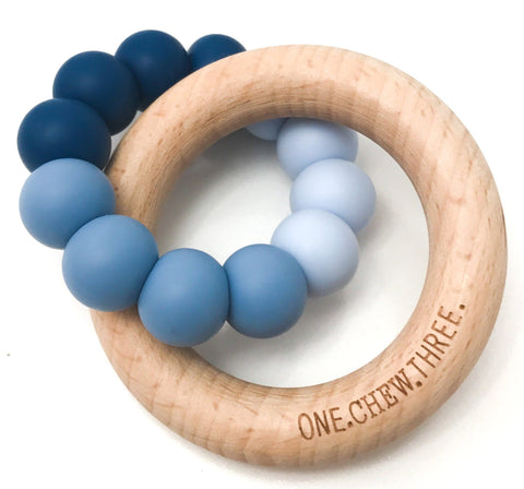 One.Chew.Three Duo Silicone and Beech Wood Teether Blue Ombre