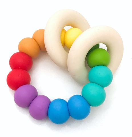 One.Chew.Three Gummi Silicone Teether Rainbow Bright