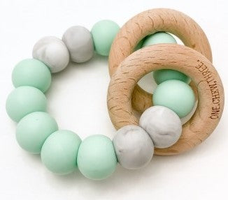 One.Chew.Three Rattle Silicone and Wood Teether Mint