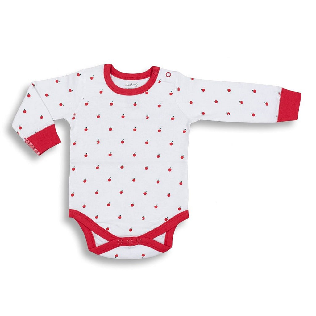 Soft long Sleeve Bodysuit for Babies in an Apple Print