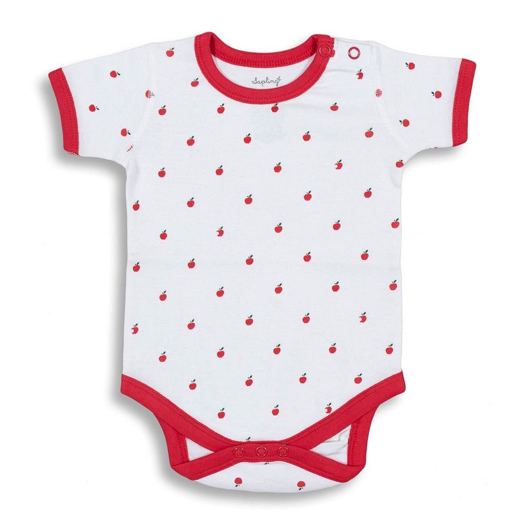 Short sleeve baby bodysuit made from very soft organic cotton