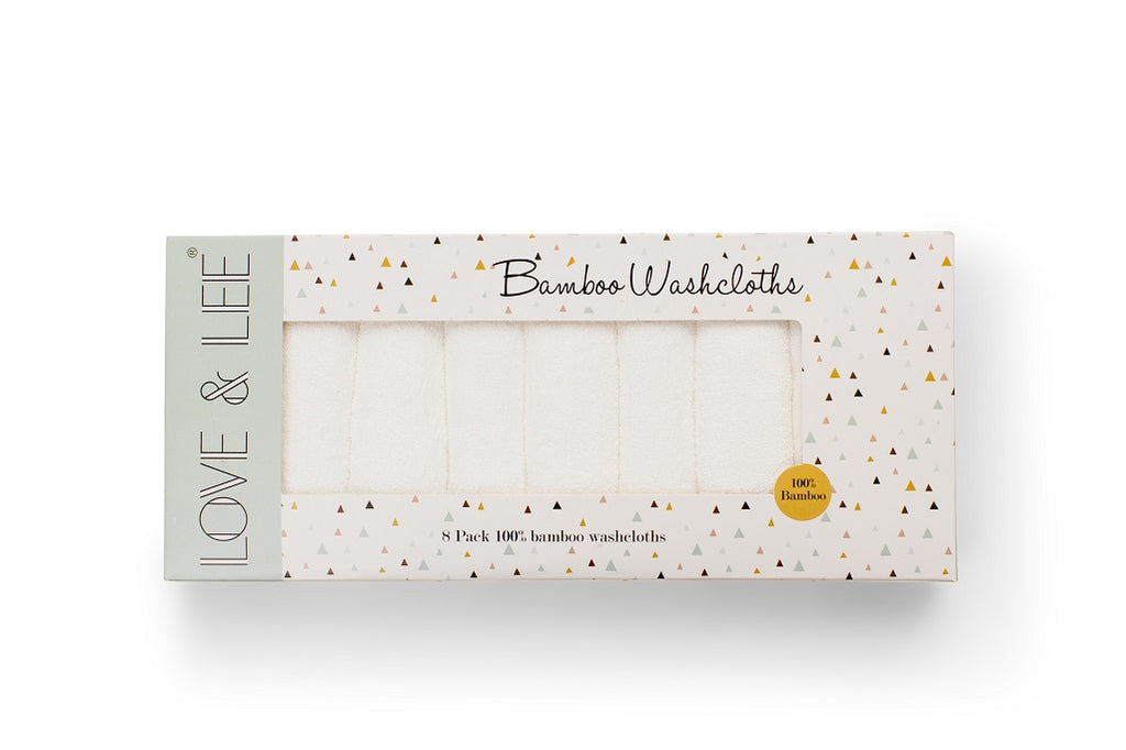 White Bamboo washcloths for babies