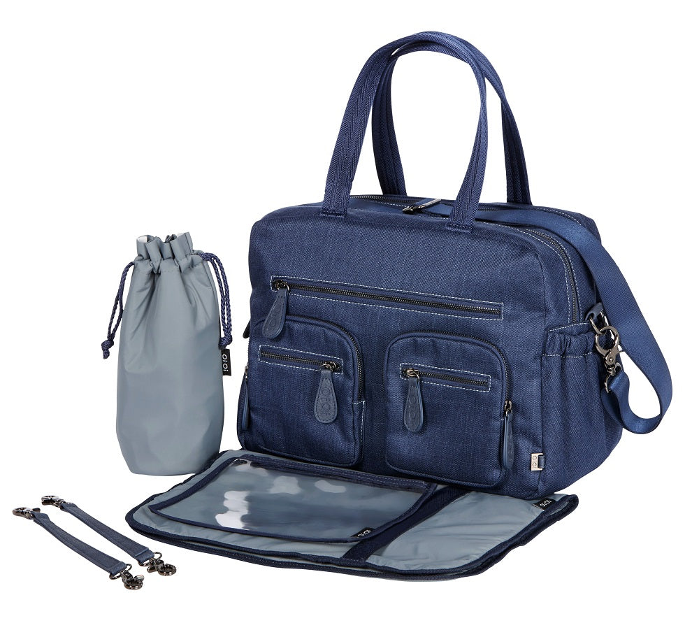 Baby nappy bag blue denim with dual compartments
