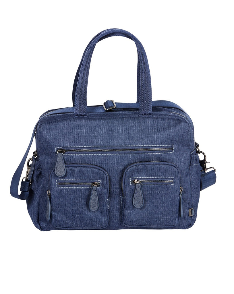 Blue denim designer nappy bag from OiOi