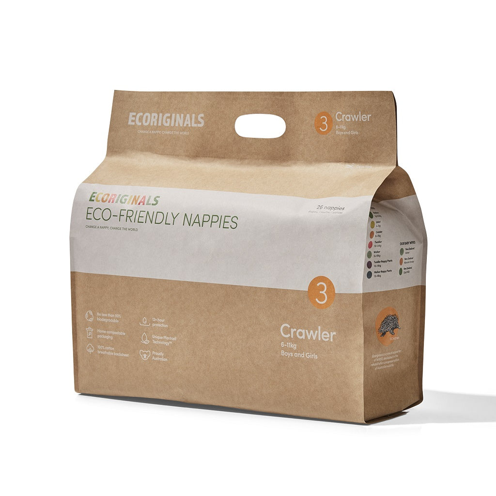 Plant based eco-friendly nappies for babies from Ecoriginals