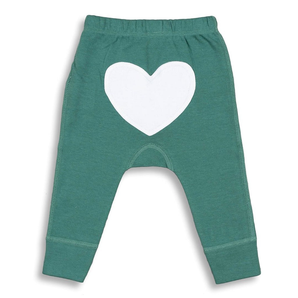 green unisex long pants for babies with a white heart on the back