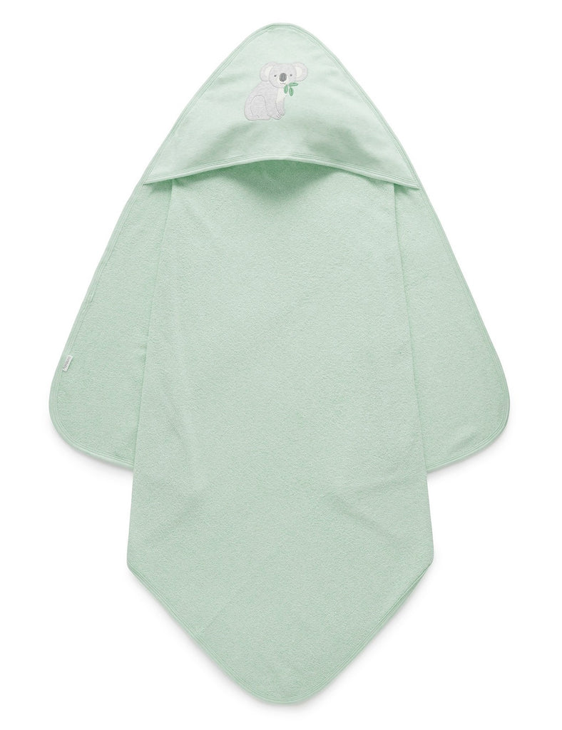 Green hooded towel for babies