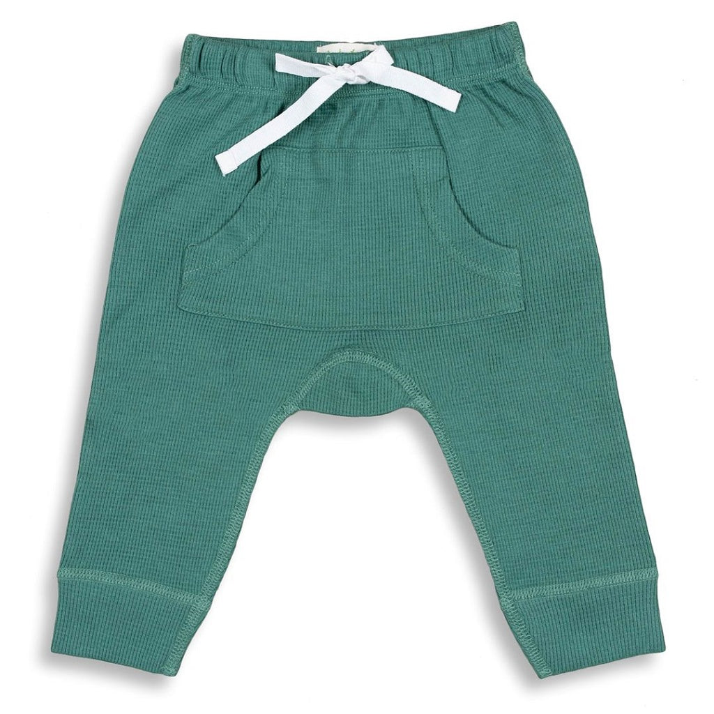 Unisex Green Waffle Pants for babies