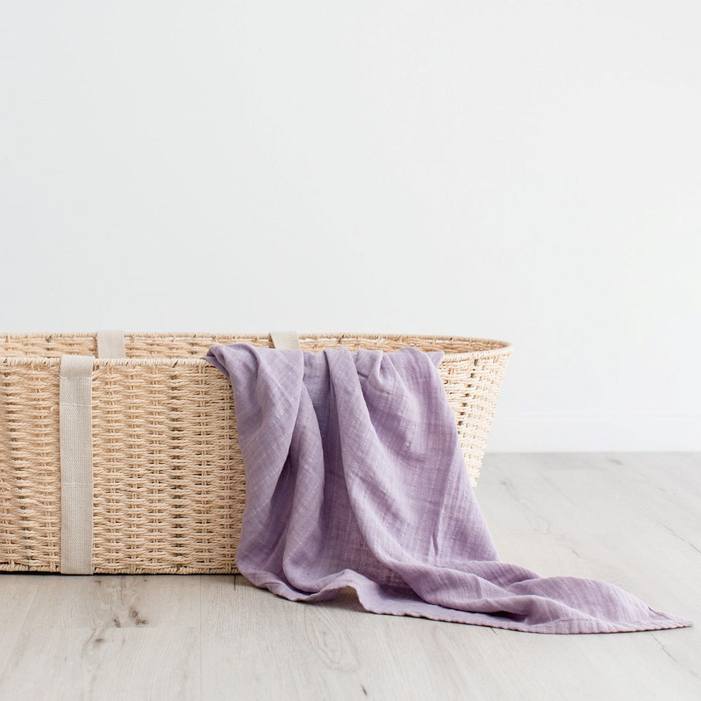 100% Organic cotton muslin wrap in lilac
