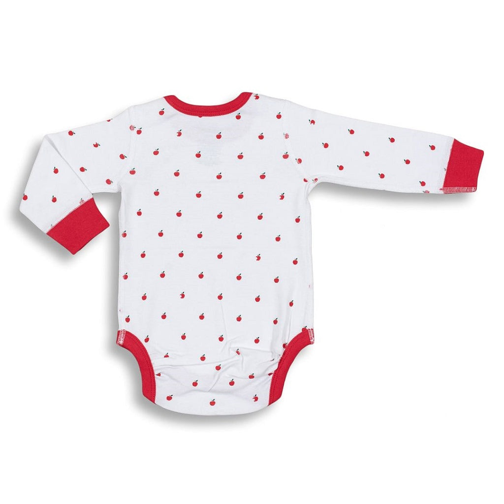 Organic cotton long sleeve bodysuit for babies in an apple print