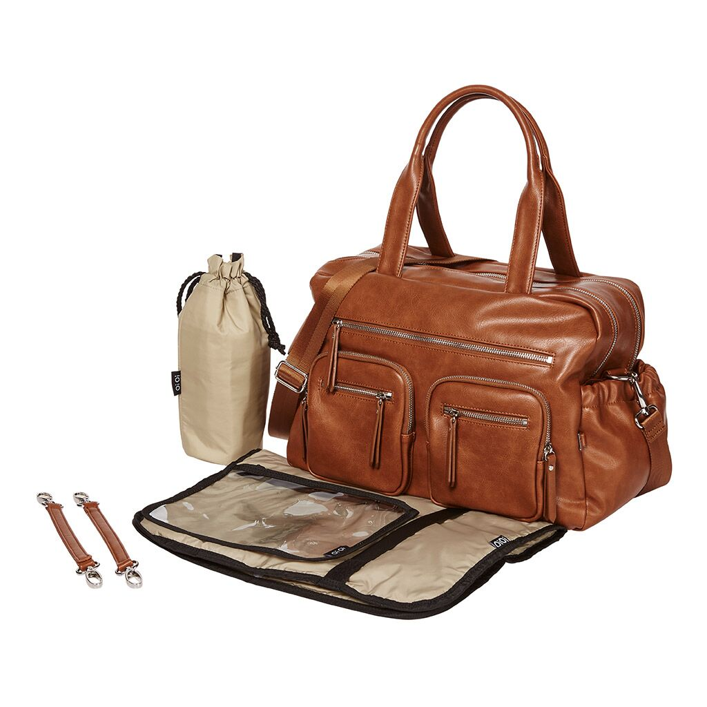 Oioi baby bag tan many compartments
