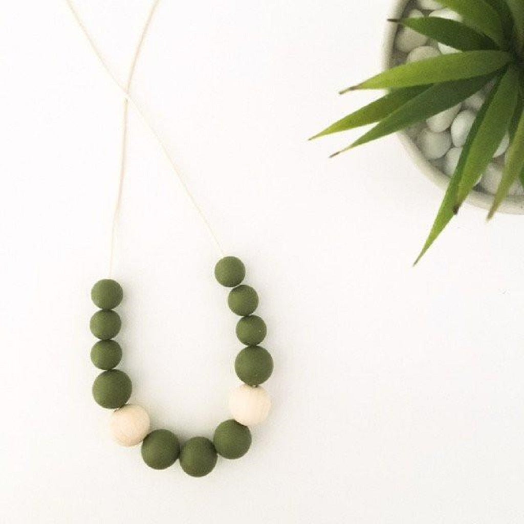 Olive Green teething necklace for mums