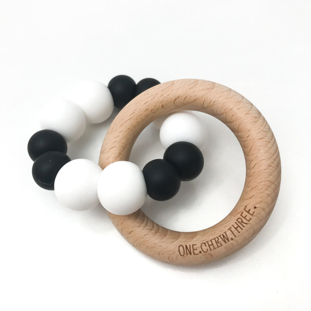 One.Chew.Three Duo Silicone and Beech Wood Teether Simply Mono Ombre