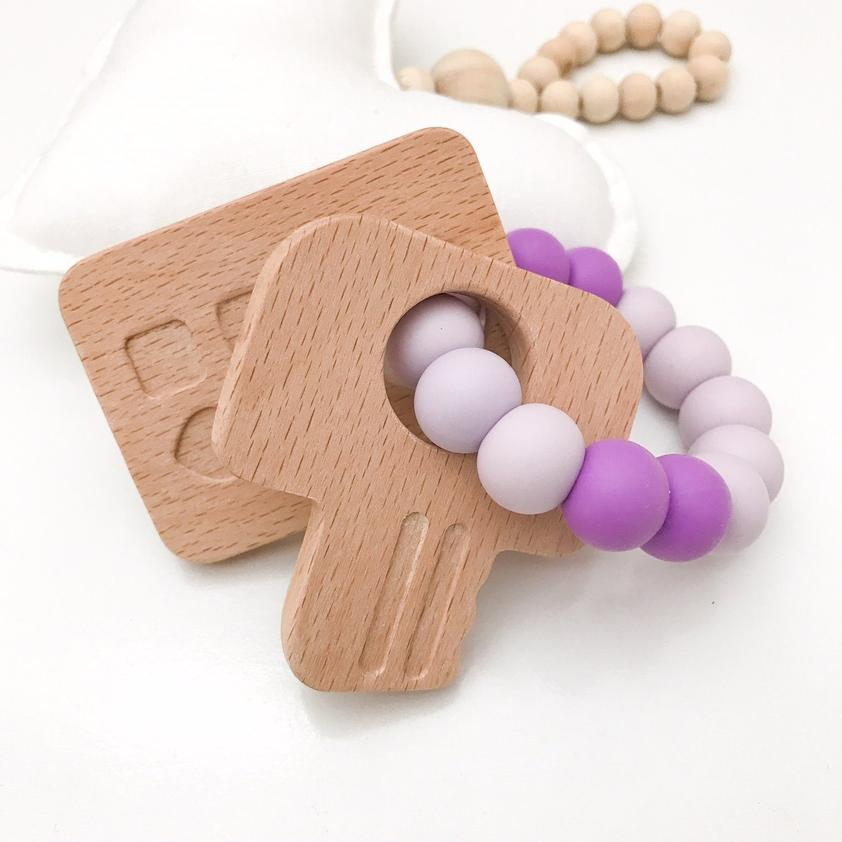 One.Chew.Three Keys to My Heart Silicone and Beech Wood Teether Purple