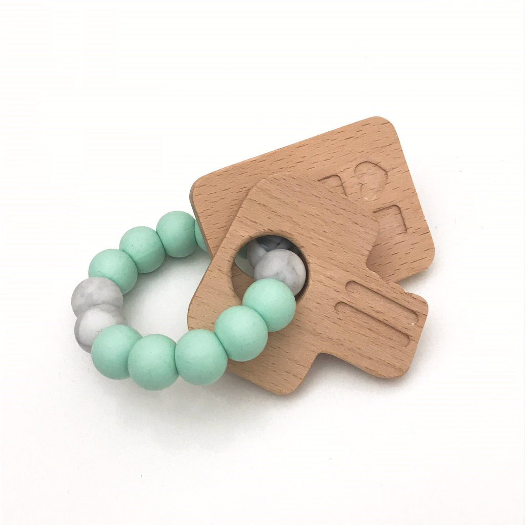Baby teether made from Silicone and Beech wood
