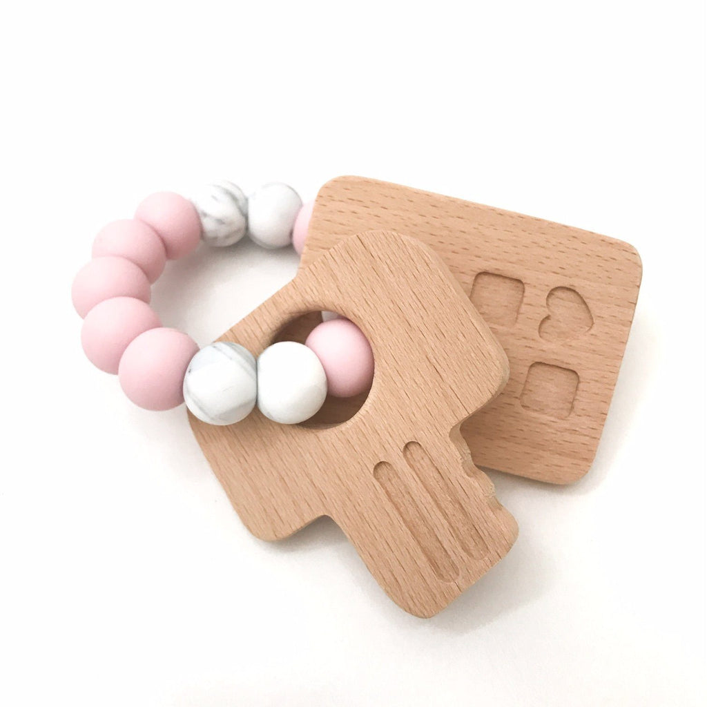 One.Chew.Three Keys to My Heart Silicone and Wood Teether Pink
