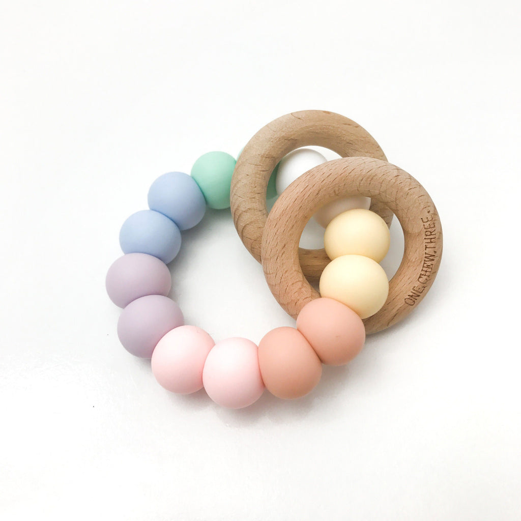 One.Chew.Three Rattle Silicone and Wood Teether Rainbow