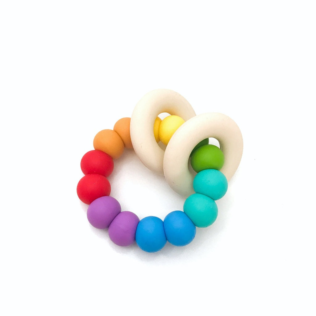 Rainbow teether for babies made from silicone