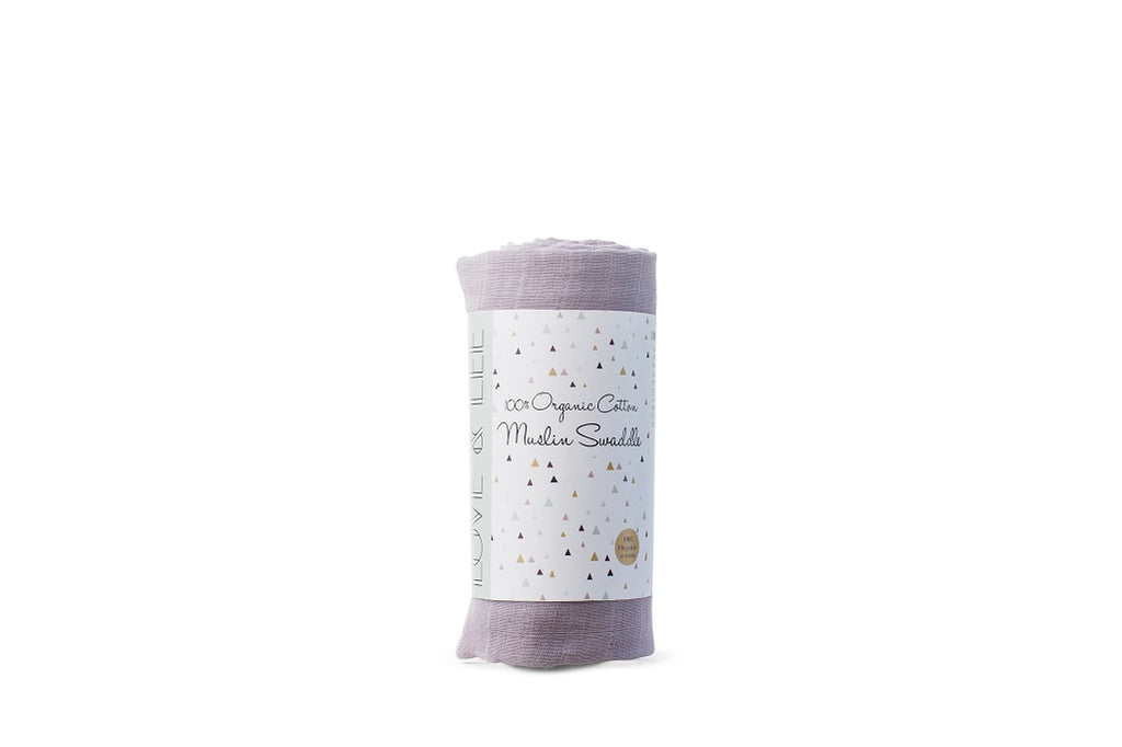 Organic cotton swaddle wrap in lilac