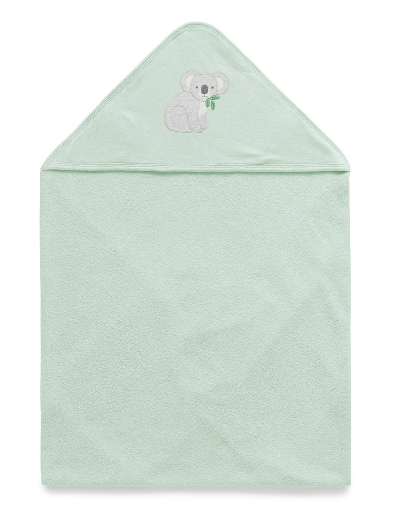 Unisex green towel for babies made from organic cotton terry towelling
