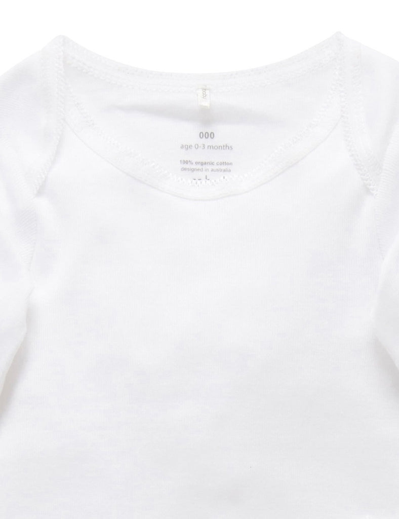 Long sleeve white bodysuit for babies