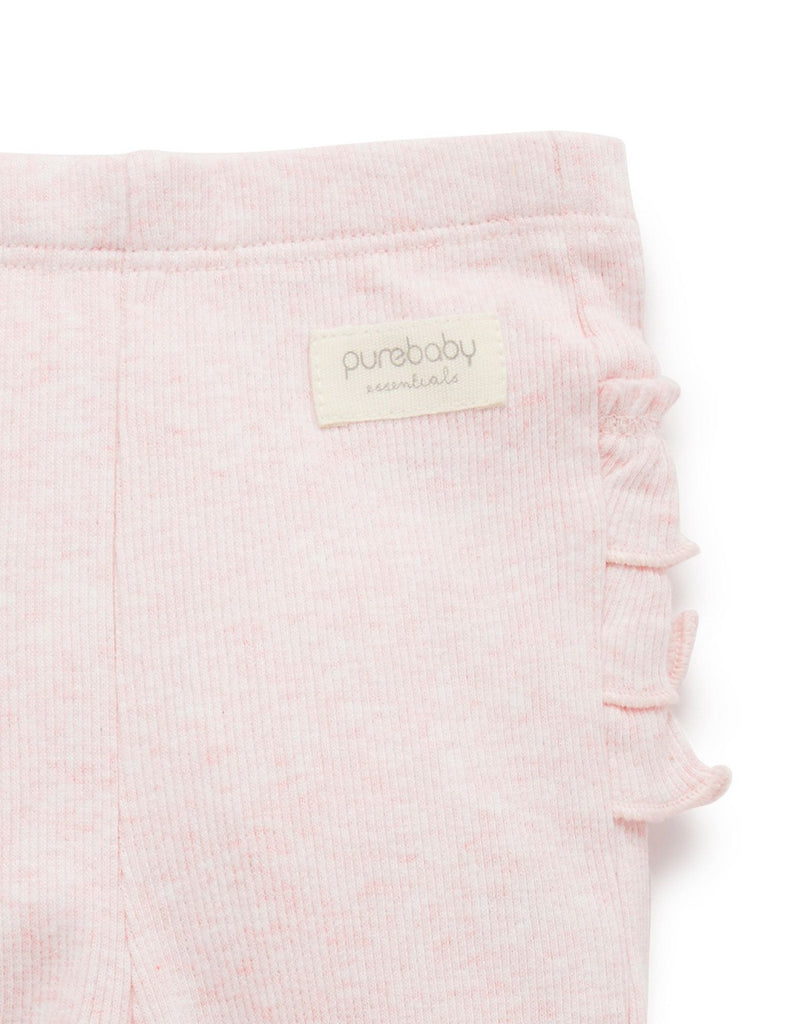 Purebaby Everyday Ruffle Baby Leggings Soft Pink Melange