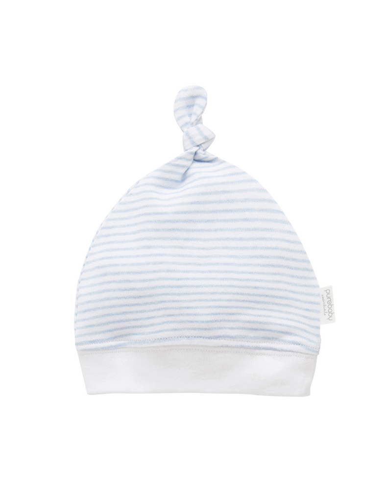 blue and white stripe Newborn knot hat made from soft organic cotton