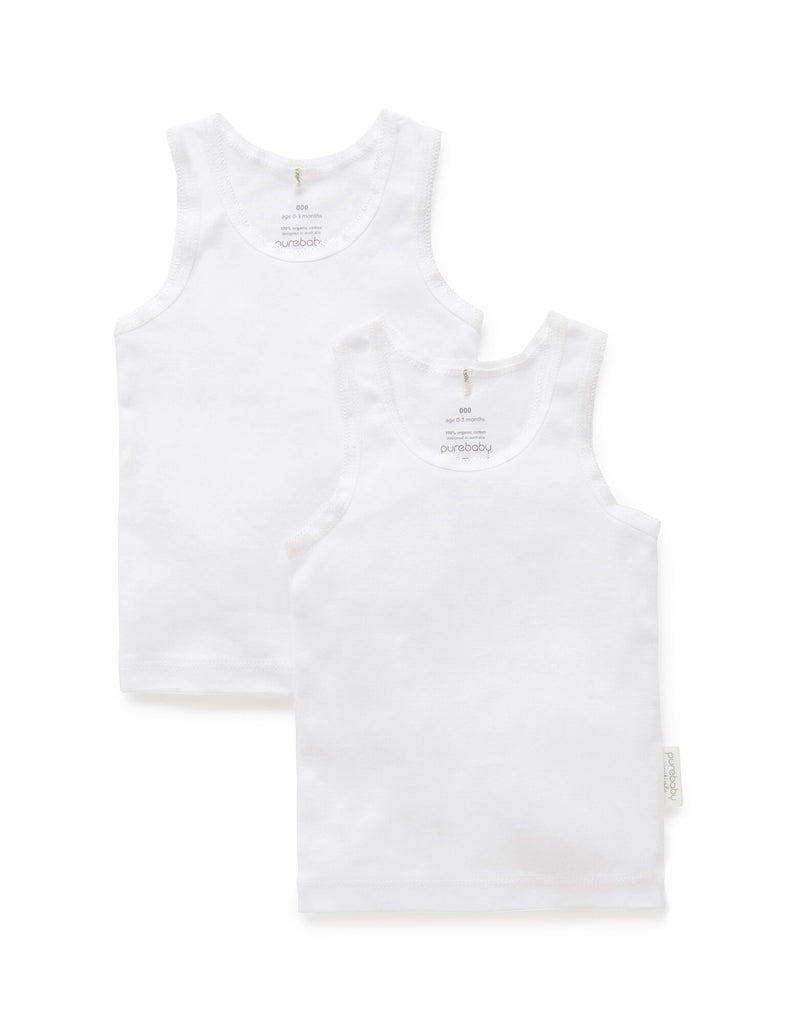 White baby singlets made from organic cotton