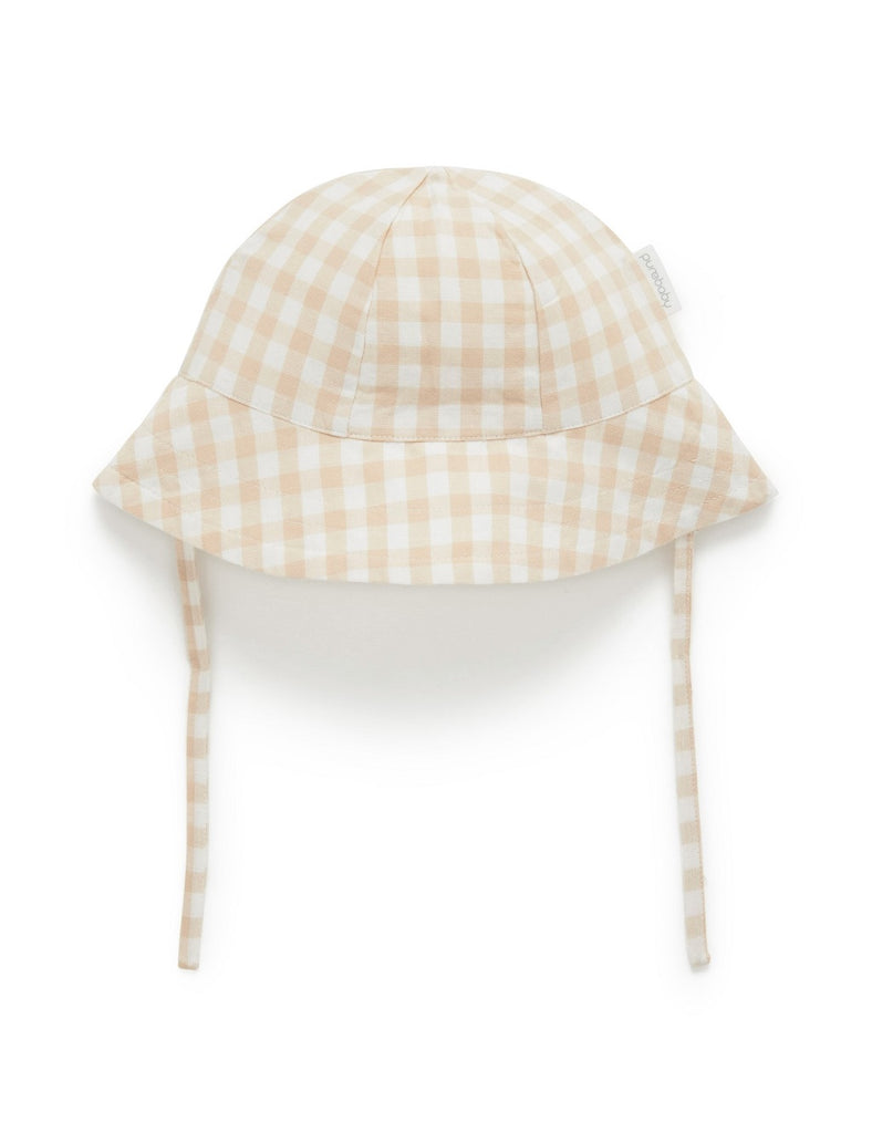 Purebaby soft cotton gingham hat for baby girls