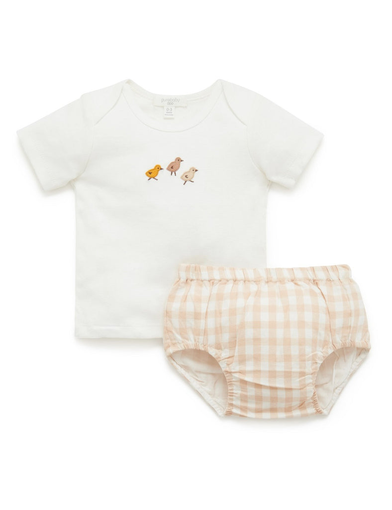 Purebaby t shirt and nappy cover made from organic cotton