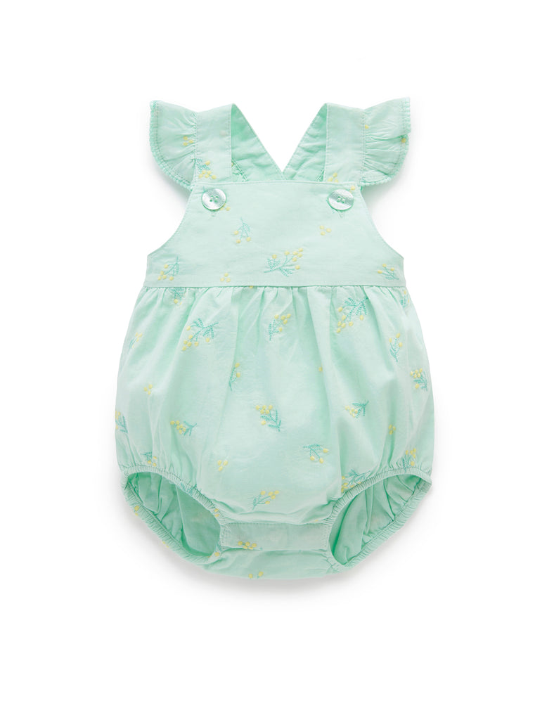 Green romper for baby girls