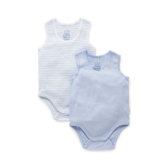 blue and blue stripe Purebaby bodysuits