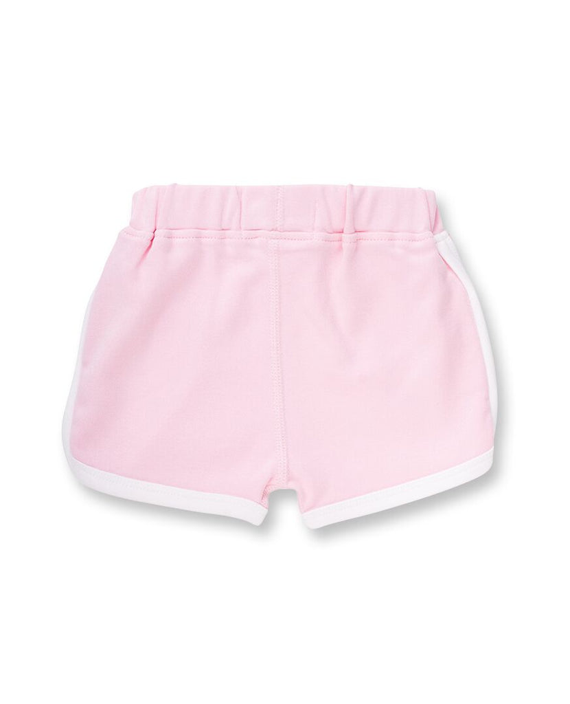 pink organic cotton shorts for baby girls