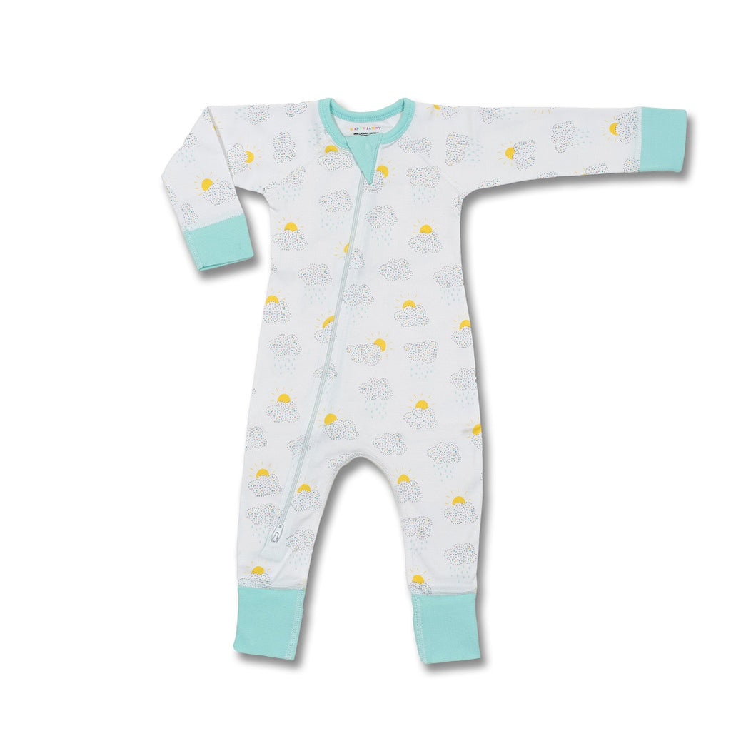 Unisex colourful zip romper for babies