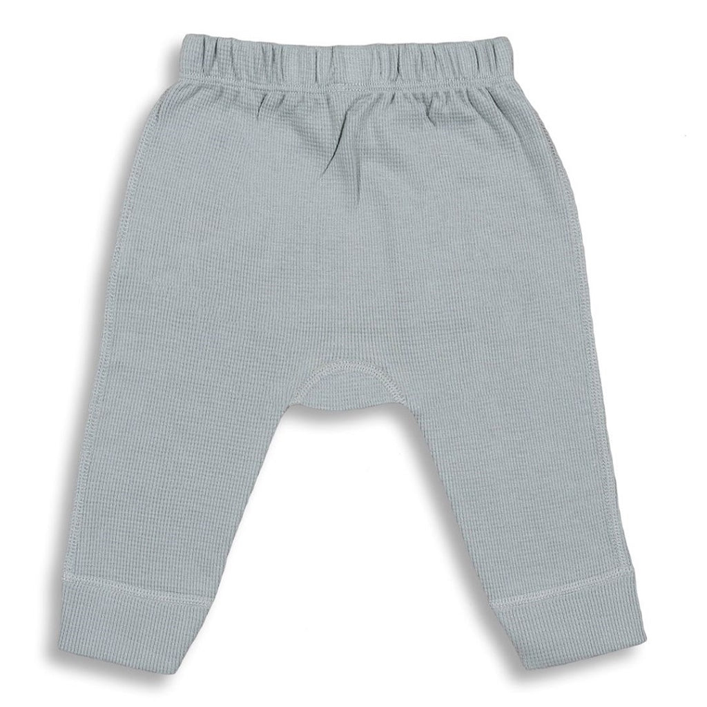 Gender neutral slouchy pants for babies made from 100% organic waffle cotton