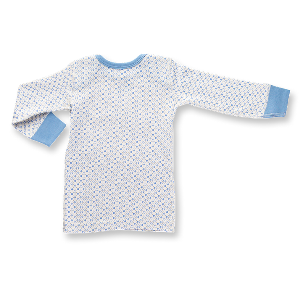 blue tee shirt for baby boys made from soft organic cotton