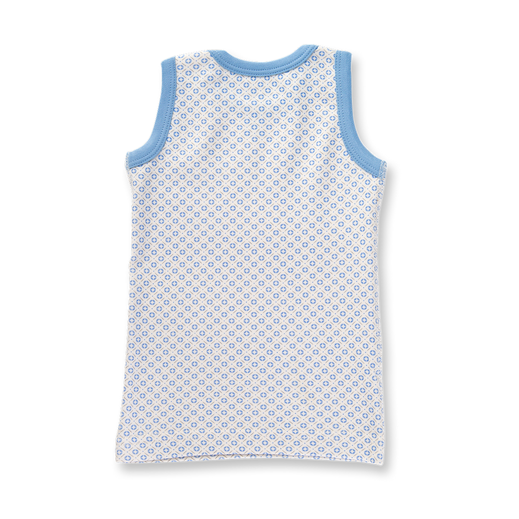 Blue baby singlet made from soft organic cotton