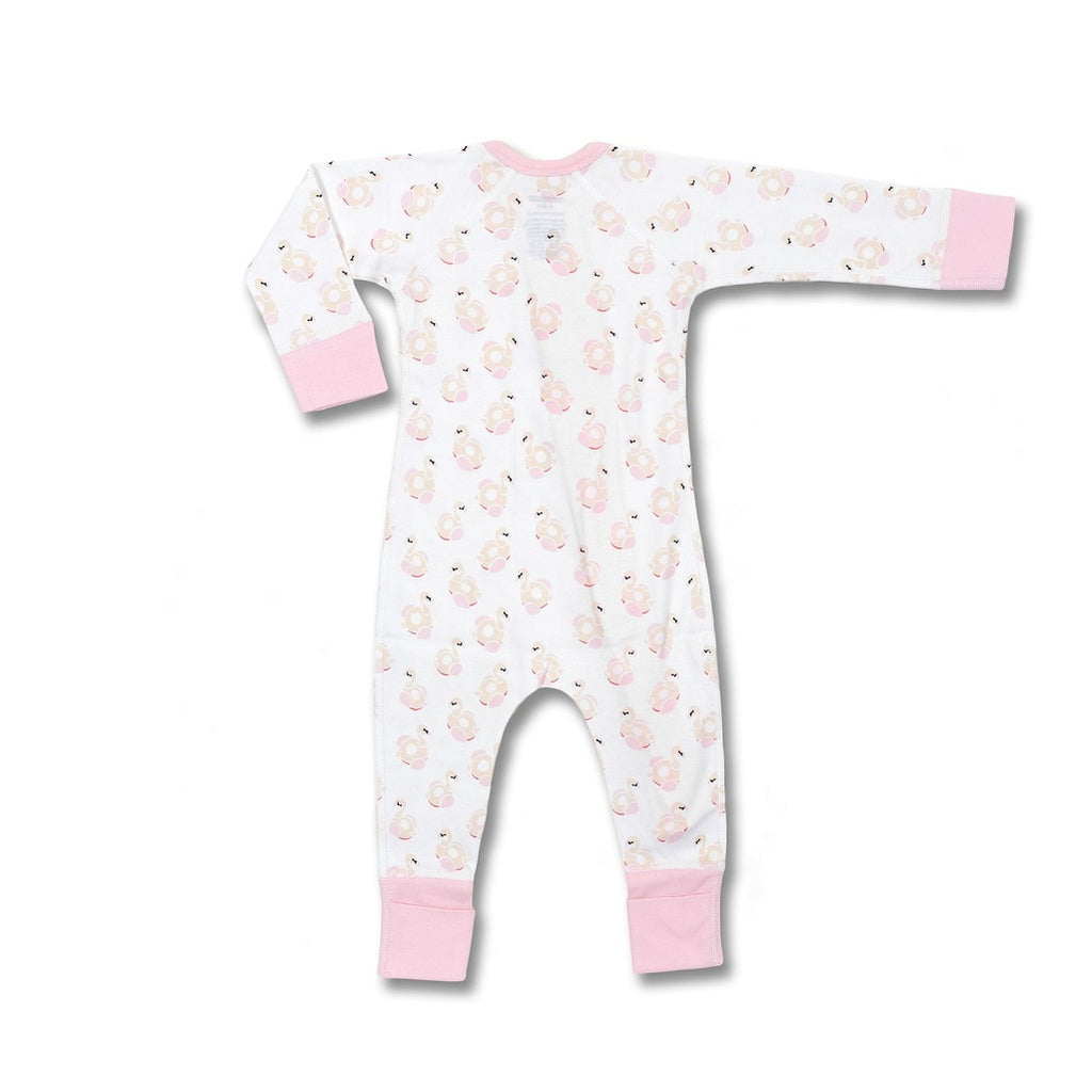 Zip romper with a flamingo print for baby girls