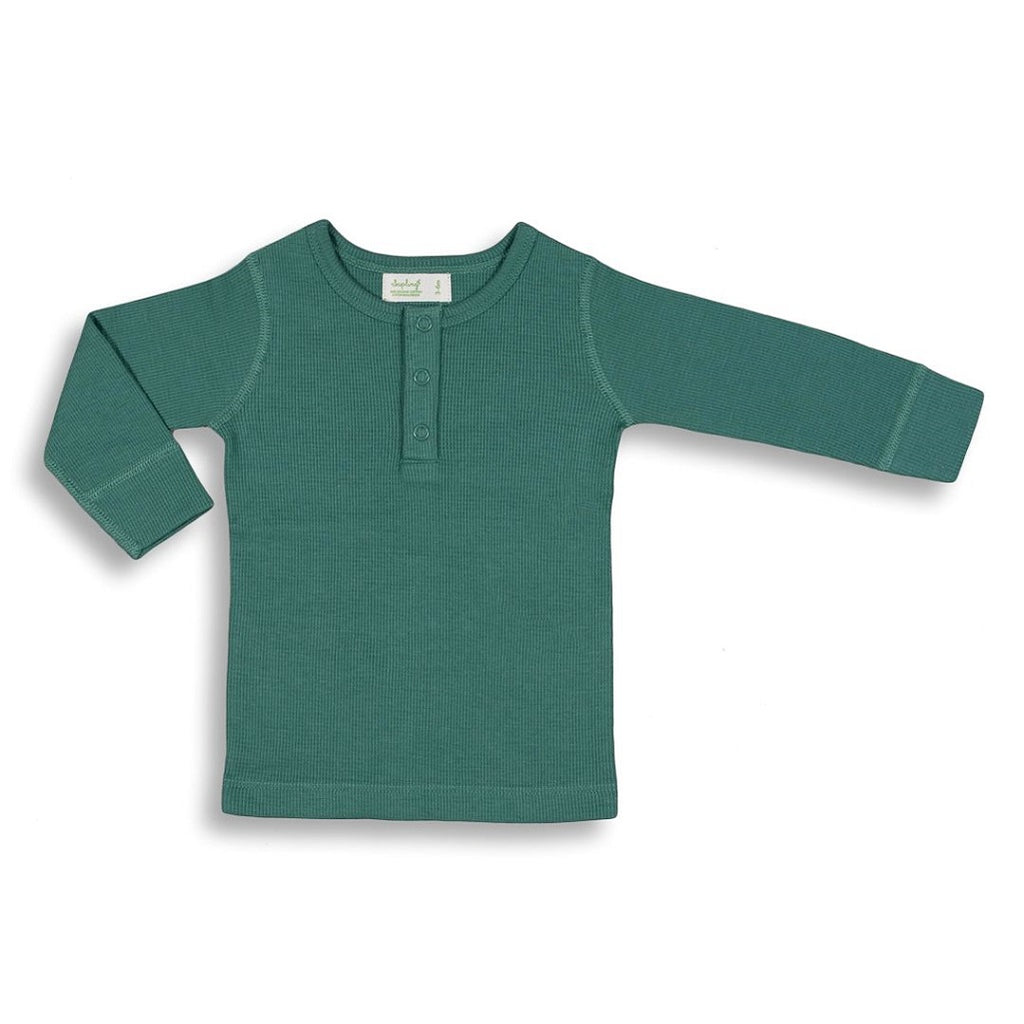 Green tee shirt for babies made with soft organic cotton