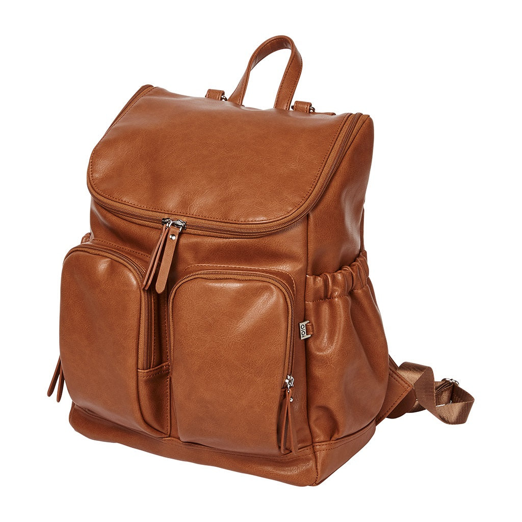 side view of the Faux Leather Nappy Backpack in tan