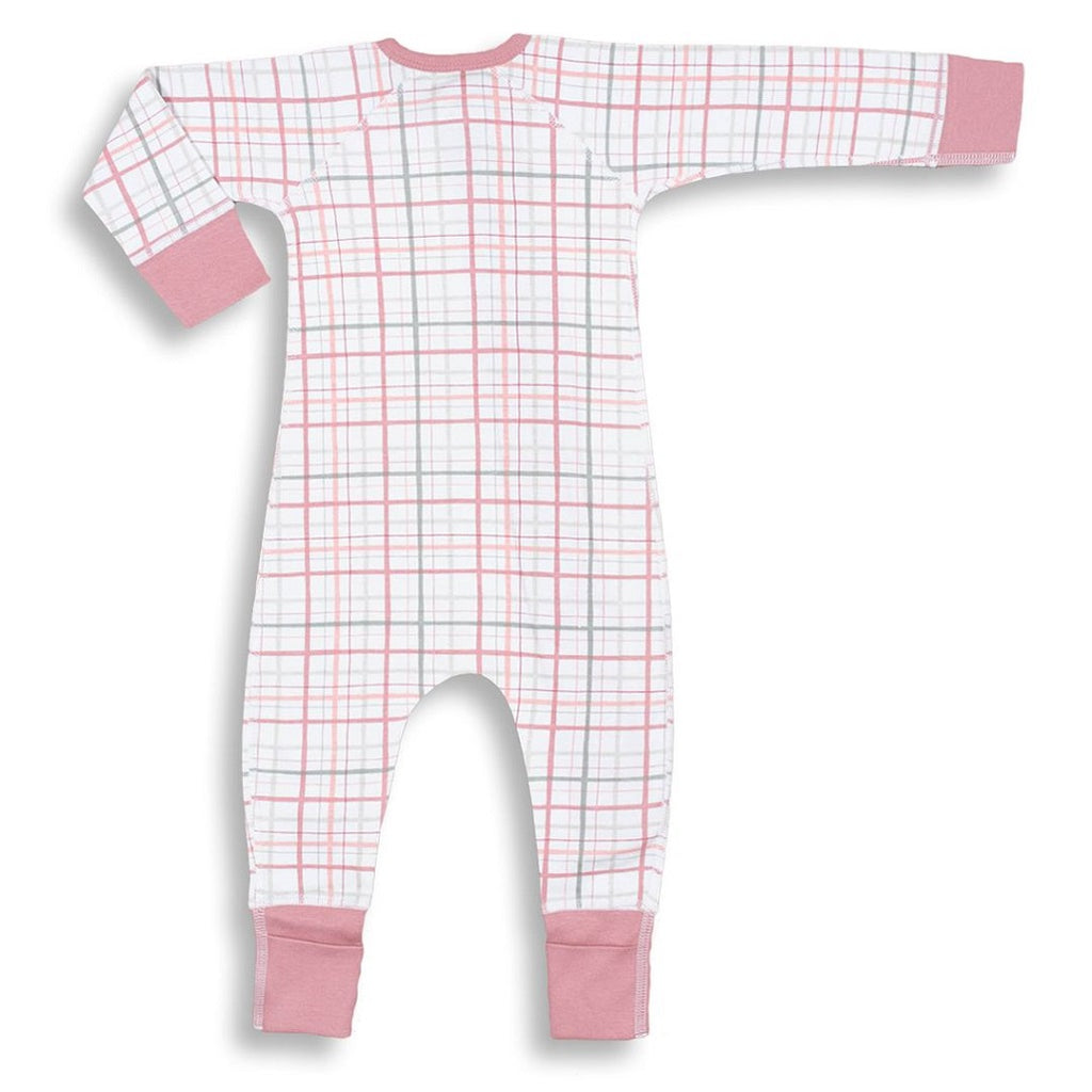 Back view of the pink plaid zip romper by Sapling Child