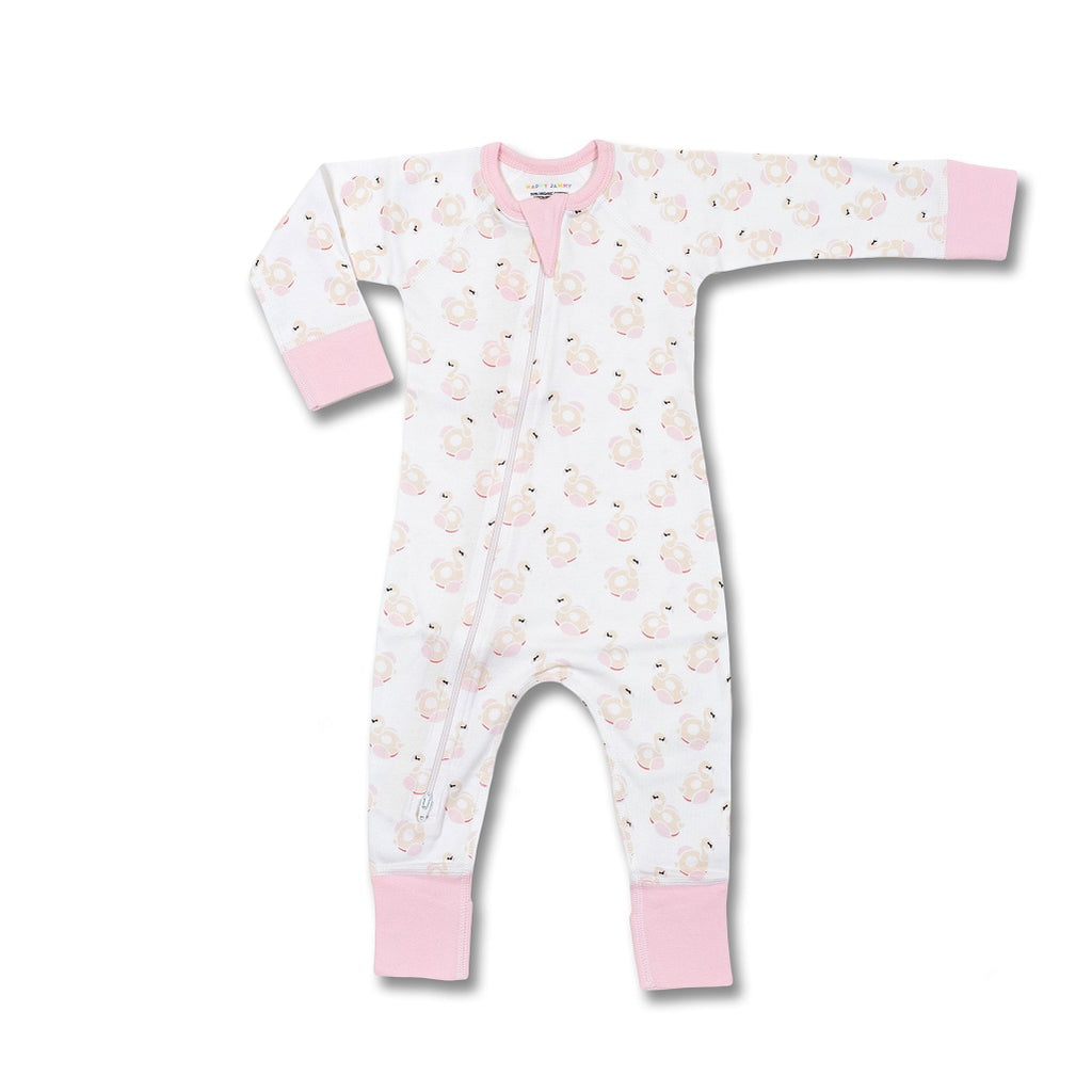 Flamingo Zip romper for baby girls