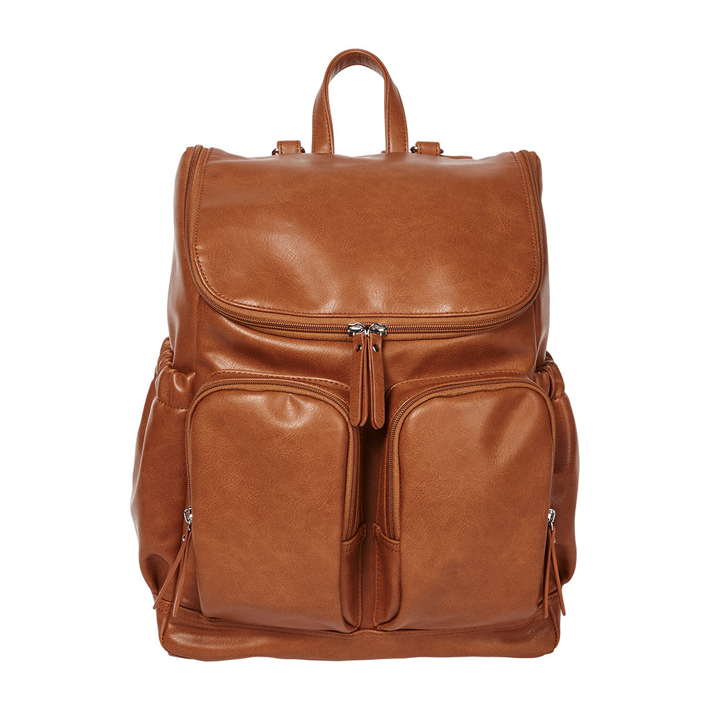 Tan Faux Leather Nappy Backpack from OiOi
