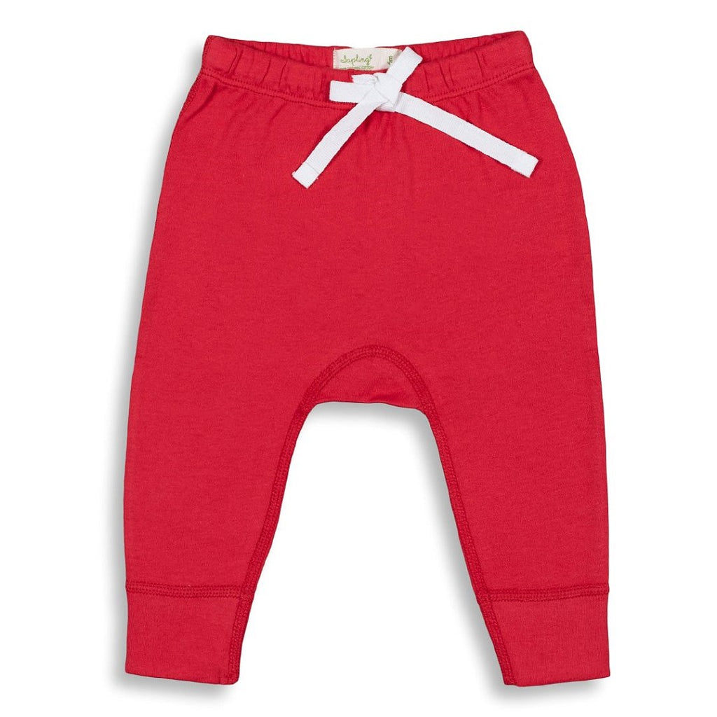 Soft cotton long pants for babies in vibrant red