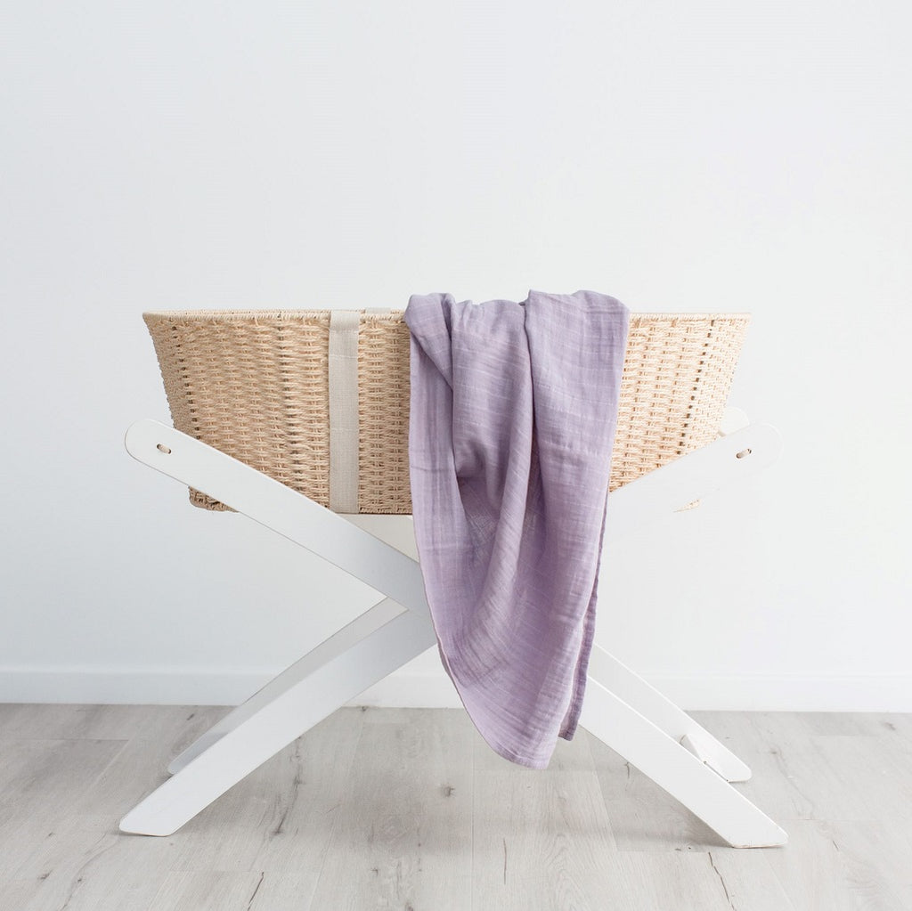 Lilac organic cotton muslin wrap for babies
