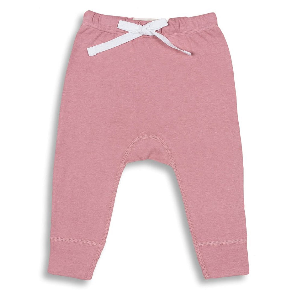 pink pants for babies with a white applique on the back