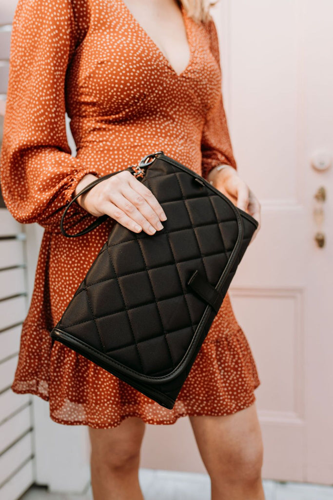 super trendy black baby change mat clutch