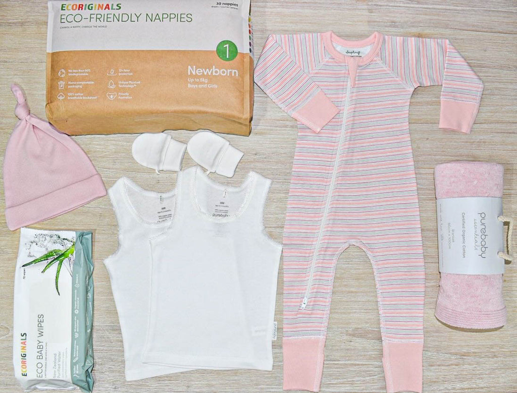 pre-packed baby essentials in pink