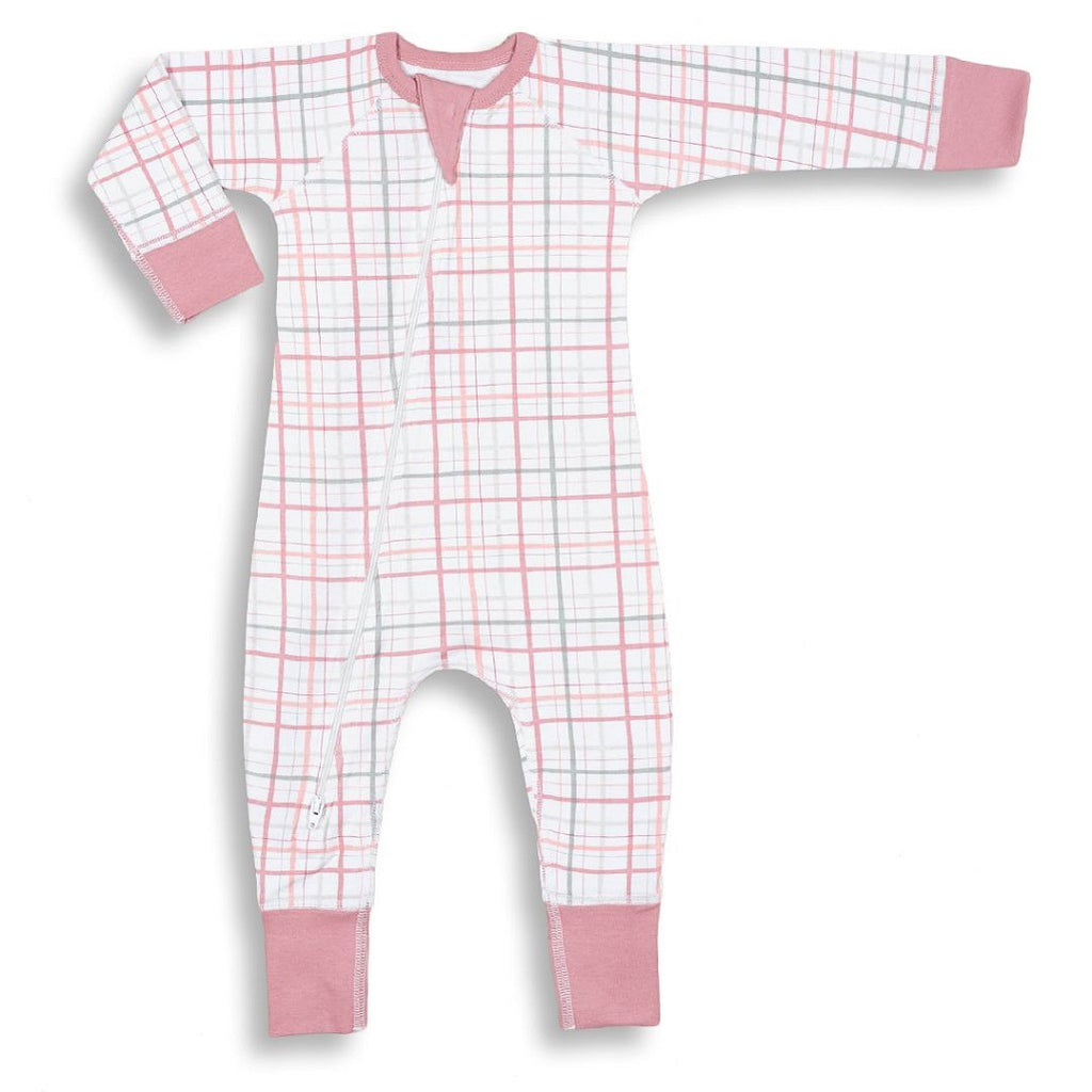 pretty pink plaid zip romper for cooler days and nights