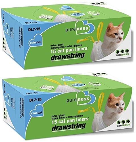 Van Ness DL715 PureNess Extra Giant Drawstring Cat Pan Liner, 15-Count - Buy Fast delivery
